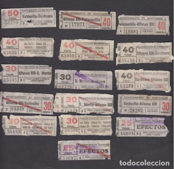 AYUNTAMIENTO SANTANDER 16 BILLETES CAPICUA DIFERENTE NUMEROS Y TRAYECTOS (Coleccionismo - Billetes de Transporte)