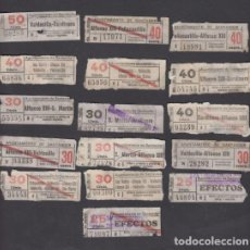 Coleccionismo Billetes de transporte: AYUNTAMIENTO SANTANDER 16 BILLETES CAPICUA DIFERENTE NUMEROS Y TRAYECTOS. Lote 152336406