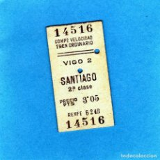 Coleccionismo Billetes de transporte: BILLETE DE TREN COMPROVANTE DE VELOCIDAD TREN ORDINARIO VIGO-SANTIAGO 3,05 PTAS. 1954. Lote 152356626
