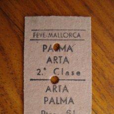Coleccionismo Billetes de transporte: BILLETE FERROCARRIL PALMA ARTÀ. MALLORCA. 1968.. Lote 152433614