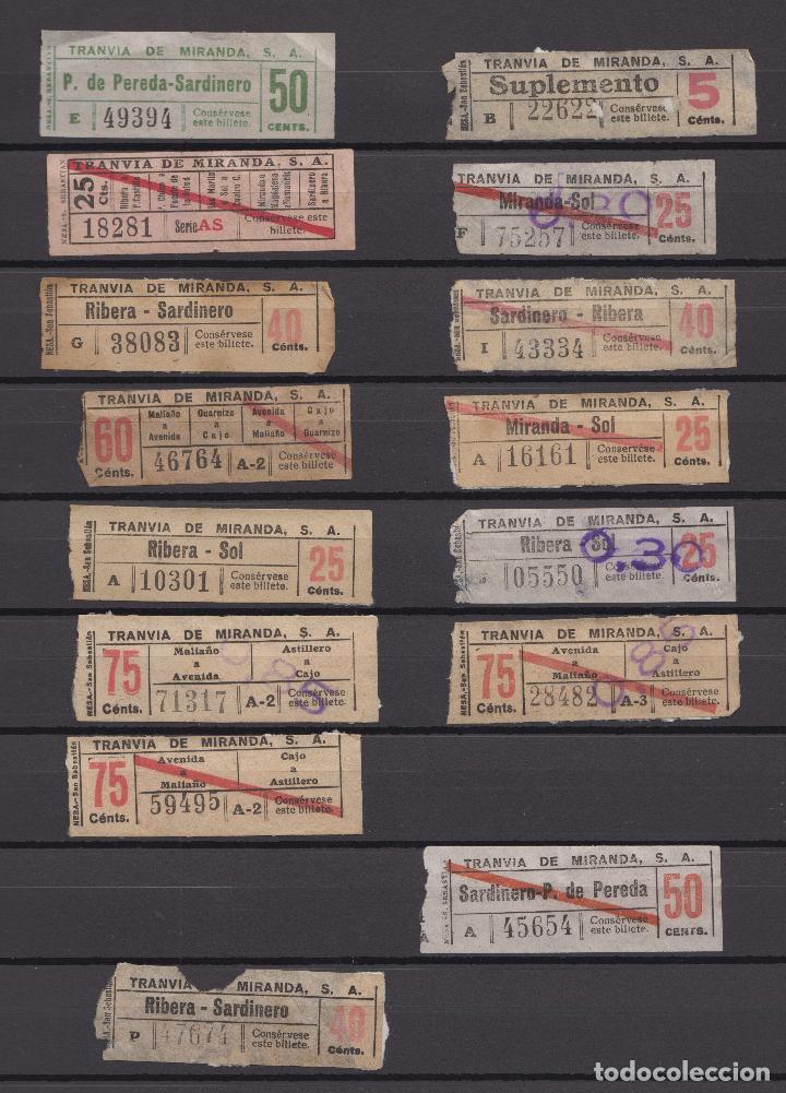 Coleccionismo Billetes de transporte: COLECCION UNICA WEB 63 BILLETES DIFERENTES CAPICUA EN NUMERO Y TRAYECTOS TRANVIA MIRANDA SANTANDER - Foto 2 - 152518250