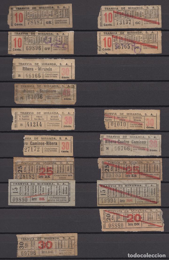 Coleccionismo Billetes de transporte: COLECCION UNICA WEB 63 BILLETES DIFERENTES CAPICUA EN NUMERO Y TRAYECTOS TRANVIA MIRANDA SANTANDER - Foto 3 - 152518250