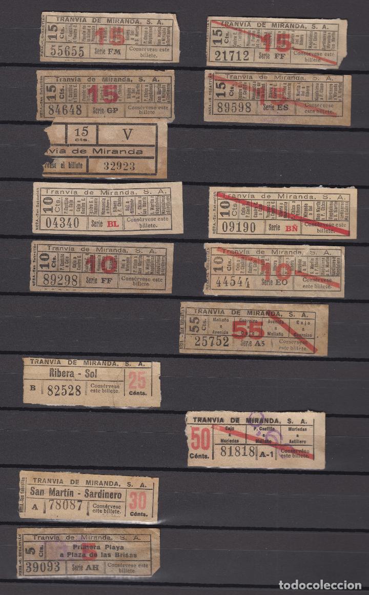 Coleccionismo Billetes de transporte: COLECCION UNICA WEB 63 BILLETES DIFERENTES CAPICUA EN NUMERO Y TRAYECTOS TRANVIA MIRANDA SANTANDER - Foto 4 - 152518250