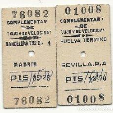 Coleccionismo Billetes de transporte: AR4. 2 BILLETES COMPLEMENTARIOS DE LUJO.AÑOS 60. Lote 152566990