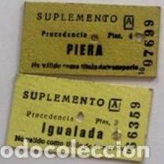 Coleccionismo Billetes de transporte: 2 BILLETES EDMONDSON DIFERENTES (OPERADOR: FERROCARRILES CATALANES) PROCEDENCIA IGUALADA Y PIERA.. Lote 152822622