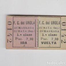 Coleccionismo Billetes de transporte: ANTIGUO BILLETE EDMONSON ZUMARRAGA ZUMAYA FERROCARRIL DE UROLA GUIPUZCOA 1ª CLASE. Lote 153122046