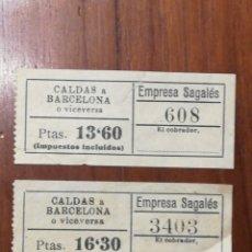 Coleccionismo Billetes de transporte: DOS BILLETES BUS.CALDAS BARCELONA. SAGALES. Lote 153387506