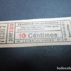 Coleccionismo Billetes de transporte: TRANVIAS DE ZARAGOZA BILLETE CAPICUA 70307 TRAYECTO 1 ROSADO 10 CÉNTIMOS. Lote 153618986