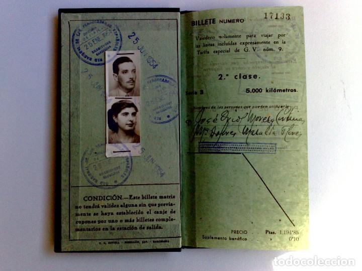 BILLETE KILOMÉTRICO RENFE,TARIFA 9-2ªCLASE,EXPEDIDO 1954 EN BARCELONA (DESCRIPCIÓN.) (Coleccionismo - Billetes de Transporte)