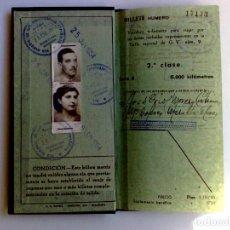 Coleccionismo Billetes de transporte: BILLETE KILOMÉTRICO RENFE,TARIFA 9-2ªCLASE,EXPEDIDO 1954 EN BARCELONA (DESCRIPCIÓN.). Lote 153681814