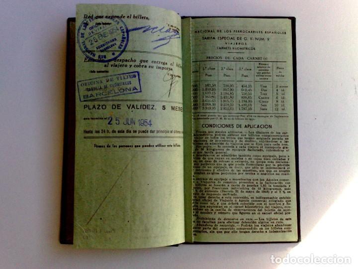 Coleccionismo Billetes de transporte: BILLETE KILOMÉTRICO RENFE,TARIFA 9-2ªCLASE,EXPEDIDO 1954 EN BARCELONA (DESCRIPCIÓN.) - Foto 2 - 153681814