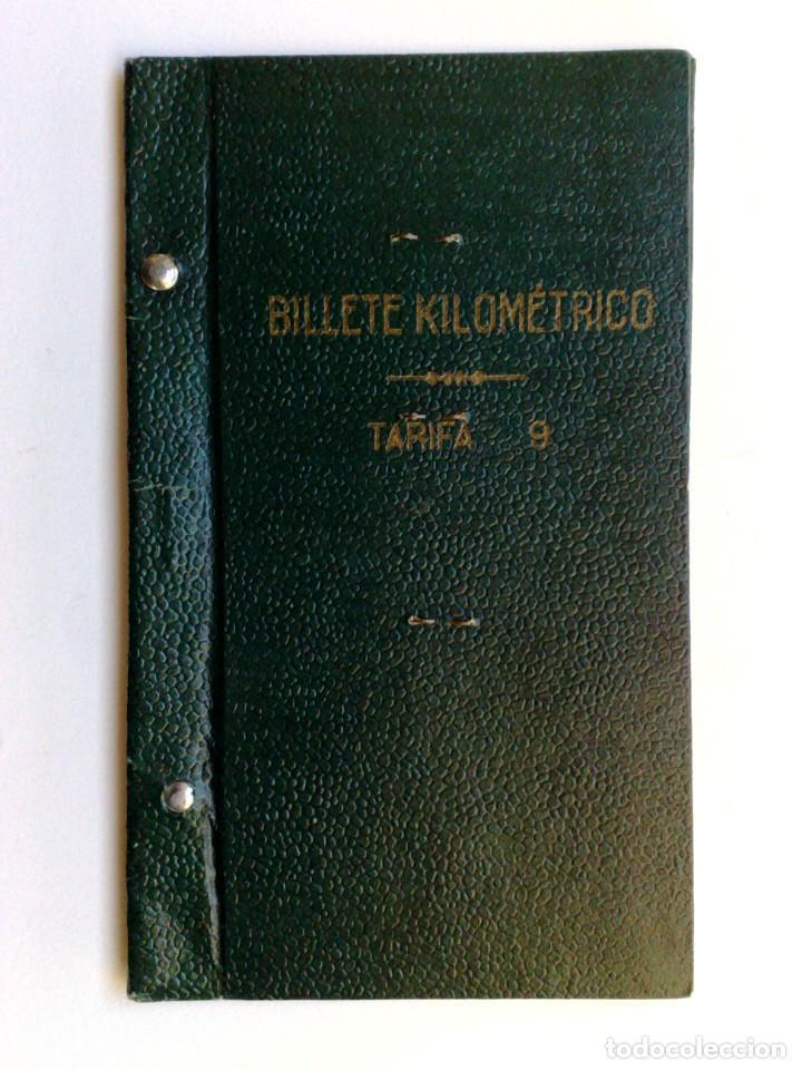Coleccionismo Billetes de transporte: BILLETE KILOMÉTRICO RENFE,TARIFA 9-2ªCLASE,EXPEDIDO 1954 EN BARCELONA (DESCRIPCIÓN.) - Foto 3 - 153681814