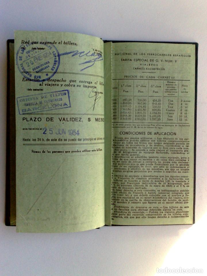 Coleccionismo Billetes de transporte: BILLETE KILOMÉTRICO RENFE,TARIFA 9-2ªCLASE,EXPEDIDO 1954 EN BARCELONA (DESCRIPCIÓN.) - Foto 4 - 153681814