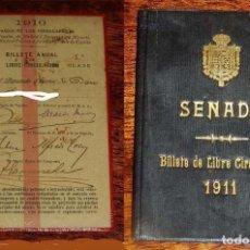 Coleccionismo Billetes de transporte: BILLETE ANUAL DE LIBRE CIRCULACION DE 1910 A FAVOR DE DIPUTADO DE CORTES Y CARTERA VACIA DE PIEL DEL. Lote 153716978