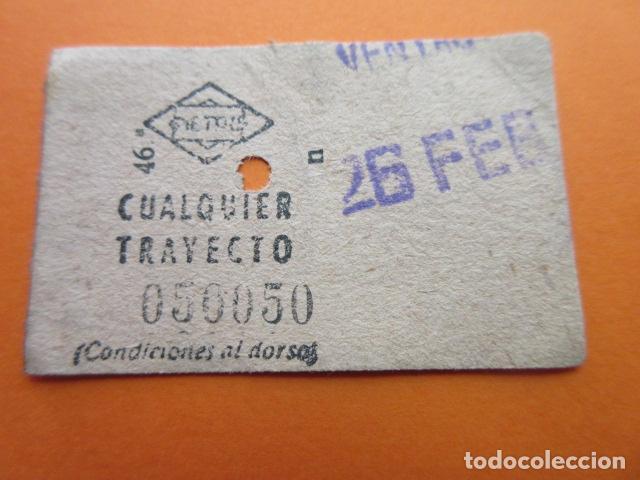 BILLETE METRO DE MADRID CUALQUIER TRAYECTO VENTAS CAPICUA 050050 CONSERVA TRASERA TALONARIO (Coleccionismo - Billetes de Transporte)