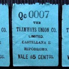Coleccionismo Billetes de transporte: ANTIGUO BILLETE DE TRANVÍA. LOTE DE 3 BILLETES CONSECUTIVOS.. Lote 155298022