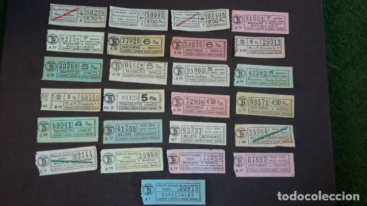 LOTE 25 BILLETES DIFERENTES DE TB ( TRANSPORTES BARCELONA ) Y UTSA ( URBANIZACIÓN Y TRANSPORTE ) (Coleccionismo - Billetes de Transporte)