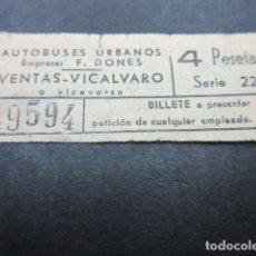 Coleccionismo Billetes de transporte: BILLETE CAPICUA 49594 AUTOBUSES DONES MADRID VENTAS VICALVARO - 4 PESETAS. Lote 155612286