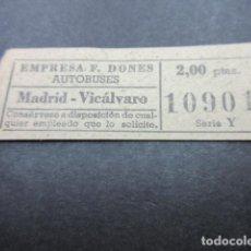 Coleccionismo Billetes de transporte: BILLETE CAPICUA 10901 AUTOBUSES DONES MADRID VICALVARO - 2.00 PESETAS. Lote 155612722