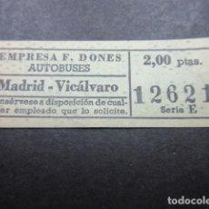 Coleccionismo Billetes de transporte: BILLETE CAPICUA 12621 AUTOBUSES DONES MADRID VICALVARO - 2.00 PESETAS. Lote 155612754