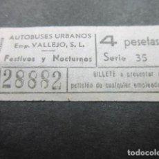 Coleccionismo Billetes de transporte: BILLETE CAPICUA 28882 AUTOBUSES VALLEJO MADRID FESTIVO NOCTURNO - 4 PESETAS . Lote 155612998