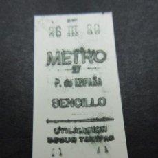Coleccionismo Billetes de transporte: METRO MADRID 1980 - PARADA P. DE ESPAÑA - MAQUINA 27. Lote 155613978