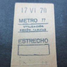 Coleccionismo Billetes de transporte: METRO MADRID 1970 - PARADA ESTRECHO - MAQUINA 77. Lote 155614194