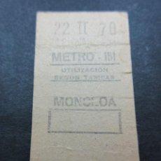 Coleccionismo Billetes de transporte: METRO MADRID 1970 - PARADA MONCLOA - MAQUINA 151. Lote 155614466