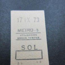 Coleccionismo Billetes de transporte: METRO MADRID 1973 - PARADA SOL - MAQUINA 5 - . Lote 155614686