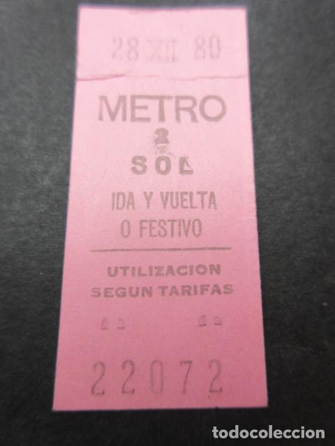METRO MADRID 1980 PARADA SOL ROSA IDA Y VUELTA O FESTIVO - MAQUINA 2 (Coleccionismo - Billetes de Transporte)
