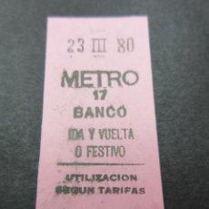 Coleccionismo Billetes de transporte: METRO MADRID 1980 PARADA BANCO ROSA IDA Y VUELTA O FESTIVO - MAQUINA 17. Lote 155615222