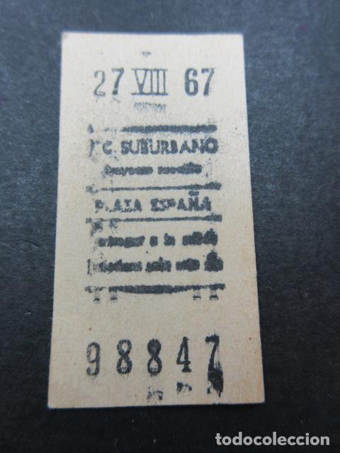 METRO MADRID 1967 PARADA PLAZA ESPAÑA F. C. SUBURBANO (Coleccionismo - Billetes de Transporte)