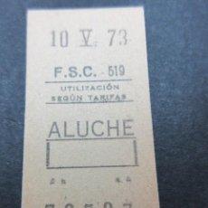Coleccionismo Billetes de transporte: METRO MADRID 1973 PARADA ALUCHE F. C. SUBURBANO CARABANCHEL F.S.C. MAQUINA 519 CAPICUA 72527. Lote 155615566