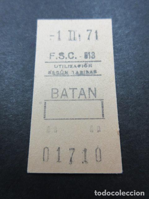 METRO MADRID 1971 PARADA BATAN F. C. SUBURBANO CARABANCHEL F.S.C. MAQUINA 513 CAPICUA 01710 (Coleccionismo - Billetes de Transporte)
