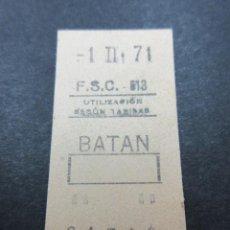 Coleccionismo Billetes de transporte: METRO MADRID 1971 PARADA BATAN F. C. SUBURBANO CARABANCHEL F.S.C. MAQUINA 513 CAPICUA 01710. Lote 155615626