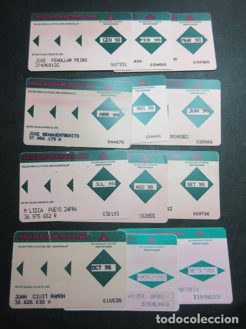 LOTE COMPLETO 12 MESES AÑO 1998 TARJETA ROSA METROPOLITANA TODOS LOS MESES DEL AÑO (Coleccionismo - Billetes de Transporte)