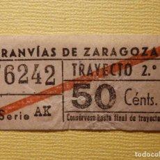 Coleccionismo Billetes de transporte: BILLETE TRANVIAS DE ZARAGOZA - TRAYECTO 2º - . Lote 156674754