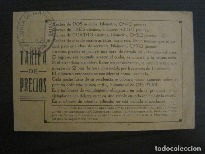 JUNTA DE TRANSPORTES-PLASENCIA-TARIFA DE PRECIOS-VER FOTOS-(57.929) (Coleccionismo - Billetes de Transporte)