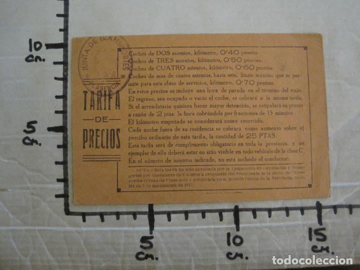 Coleccionismo Billetes de transporte: JUNTA DE TRANSPORTES-PLASENCIA-TARIFA DE PRECIOS-VER FOTOS-(57.929) - Foto 5 - 156897530