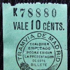 Coleccionismo Billetes de transporte: ANTIGUO BILLETE DE TRANVÍA. . Lote 157329994