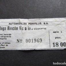 Coleccionismo Billetes de transporte: BILLETE AUTOBUSES AUTOMOVILES PORTILLO DE MALAGA RINCON DE LA VICTORIA. Lote 157902042