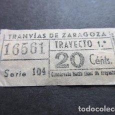 Coleccionismo Billetes de transporte: BILLETE TRANVIAS DE ZARAGOZA CAPICUA 16561. Lote 157908178