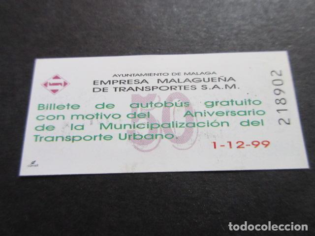 BILLETE CONMEMORATIVO 50 ANIVERSARIO EMPRESA MALAGUEÑA DE TRANSPORTES SAM MALAGA (Coleccionismo - Billetes de Transporte)