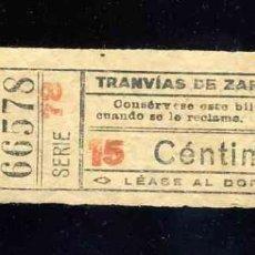 Coleccionismo Billetes de transporte: BILLETE DE TRANSPORTE: TRANVIAS DE ZARAGOZA. Lote 158026090