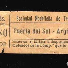 Coleccionismo Billetes de transporte: BILLETE DE TRANSPORTE: SOCIEDAD MADRILEÑA DE TRANVIAS, MADRID: PUERTA DEL SOL A ARGUELLES. Lote 158026990
