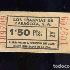Coleccionismo Billetes de transporte: BILLETE DE TRANSPORTE: LOS TRANVIAS DE ZARAGOZA. Lote 158031694