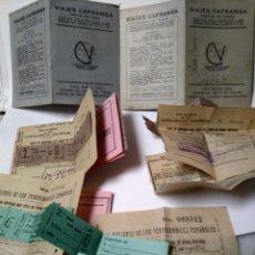 Coleccionismo Billetes de transporte: VIAJES CAFRANGA. 1950. ANTIGUOS BILLETES DE VIAJE. BILBAO-BARCELONA.. Lote 159081993