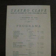 Coleccionismo Billetes de transporte: MATARO-FIESTAS CENTENARIO PRIMER FERROCARRIL ESPAÑOL-TEATRO CLAVE-AÑO 1948-VER FOTOS-(V-16.402). Lote 160282326