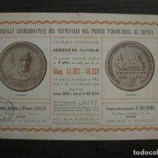 Coleccionismo Billetes de transporte: MATARO-LOTERIA NACIONAL NAVIDAD-MEDALLA CONMEMORATIVA CENTENARIO FERROCARRIL-VER FOTOS-(V-16.409). Lote 160284810