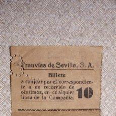 Coleccionismo Billetes de transporte: TRANVÍAS DE SEVILLA ABONO DE 8 BILLETES DE 10 CENTIMOS 1929. Lote 160427794